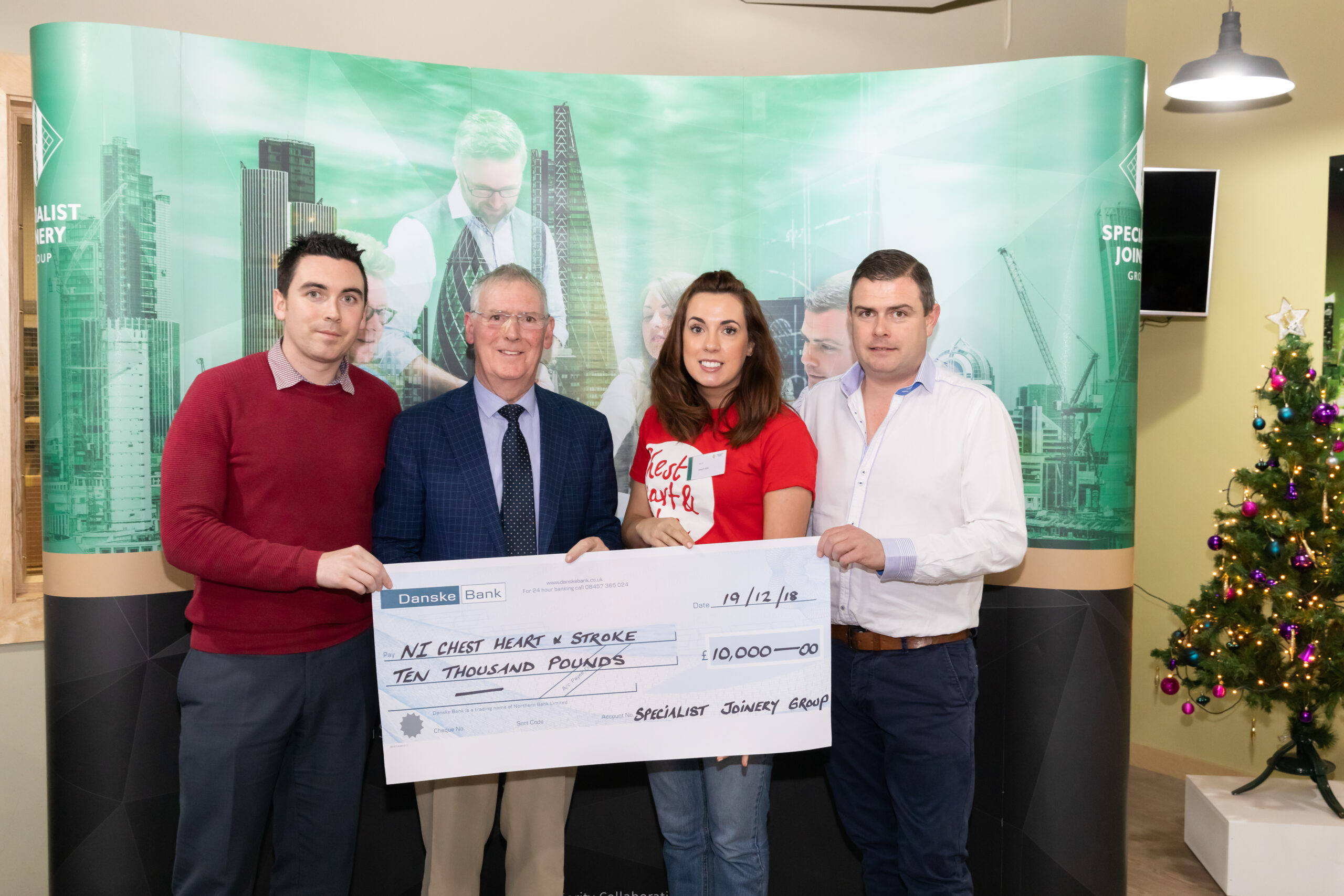 Steph Ellis from NI Chest Heart & Stroke pictured with Dermot, John Bosco and Ciaran O'Hagan