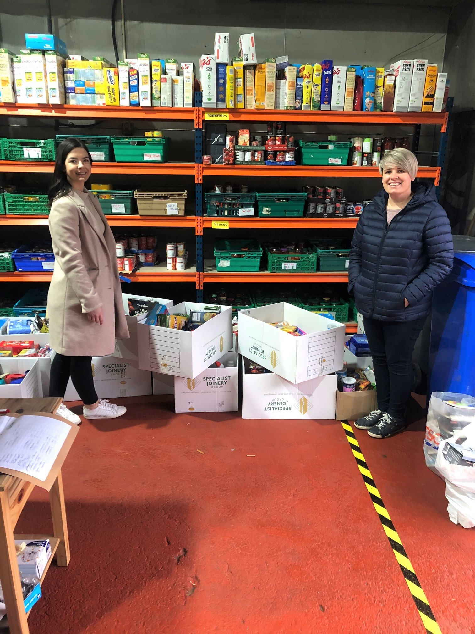 Aideen McAlary with Jenny Thompson from Hope Foodbank